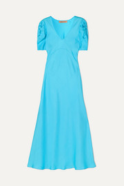 + NET SUSTAIN knotted silk-twill midi dress