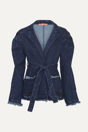+ NET SUSTAIN George III knotted frayed denim jacket