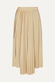 Frankie Shop Yoyo asymmetric pleated Tencel and cashmere-blend wrap skirt