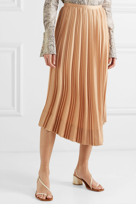 Chloe asymmetric pleated satin midi skirt
