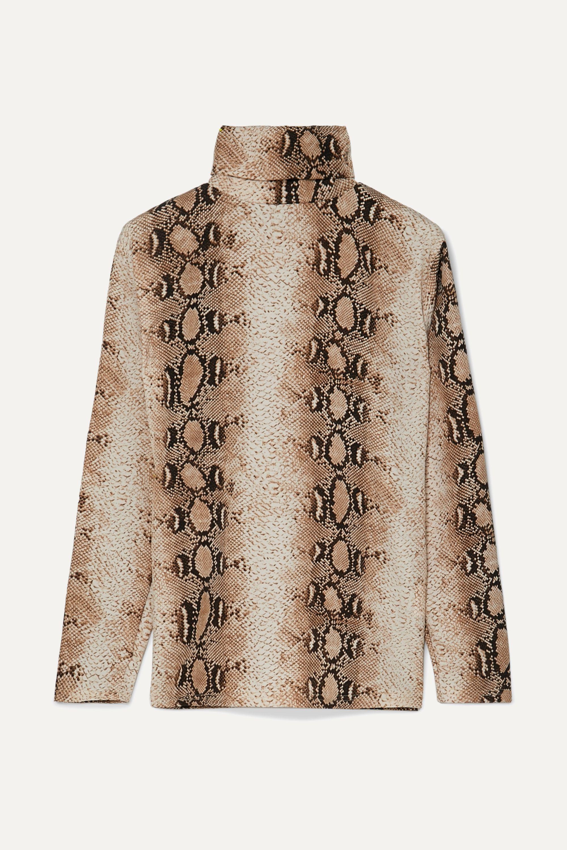Frankie Shop Camille 仿蛇纹平纹布高领上衣