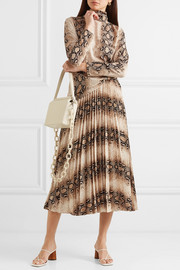 Camille snake-print pleated jersey midi skirt