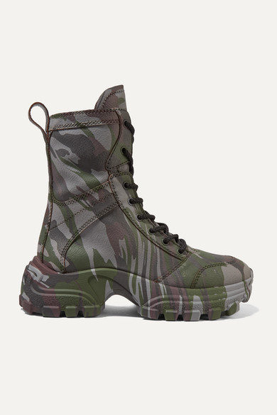 innovative design 3b4ca 596ac Camouflage-print textured-leather ankle boots