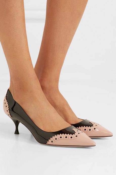 Perforated two-tone patent-leather pumps