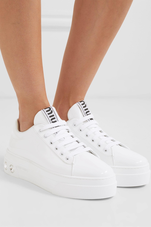 Miu Miu Crystal-embellished patent-leather platform sneakers