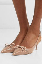Bow-embellished patent-leather slingback pumps