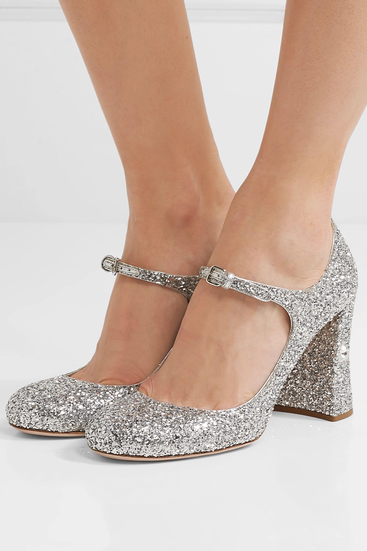 Silver Crystal-embellished glittered