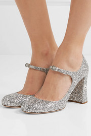 Crystal-embellished glittered-leather Mary Jane pumps
