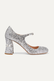Miu Miu Crystal-embellished glittered-leather Mary Jane pumps