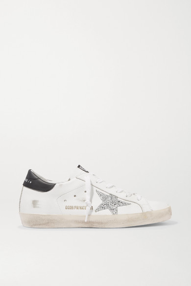 Golden Goose - Superstar Distressed Glittered Leather Sneakers - White