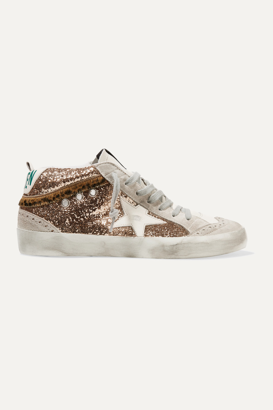 Golden Goose Mid Star distressed glittered leather and suede sneakers
