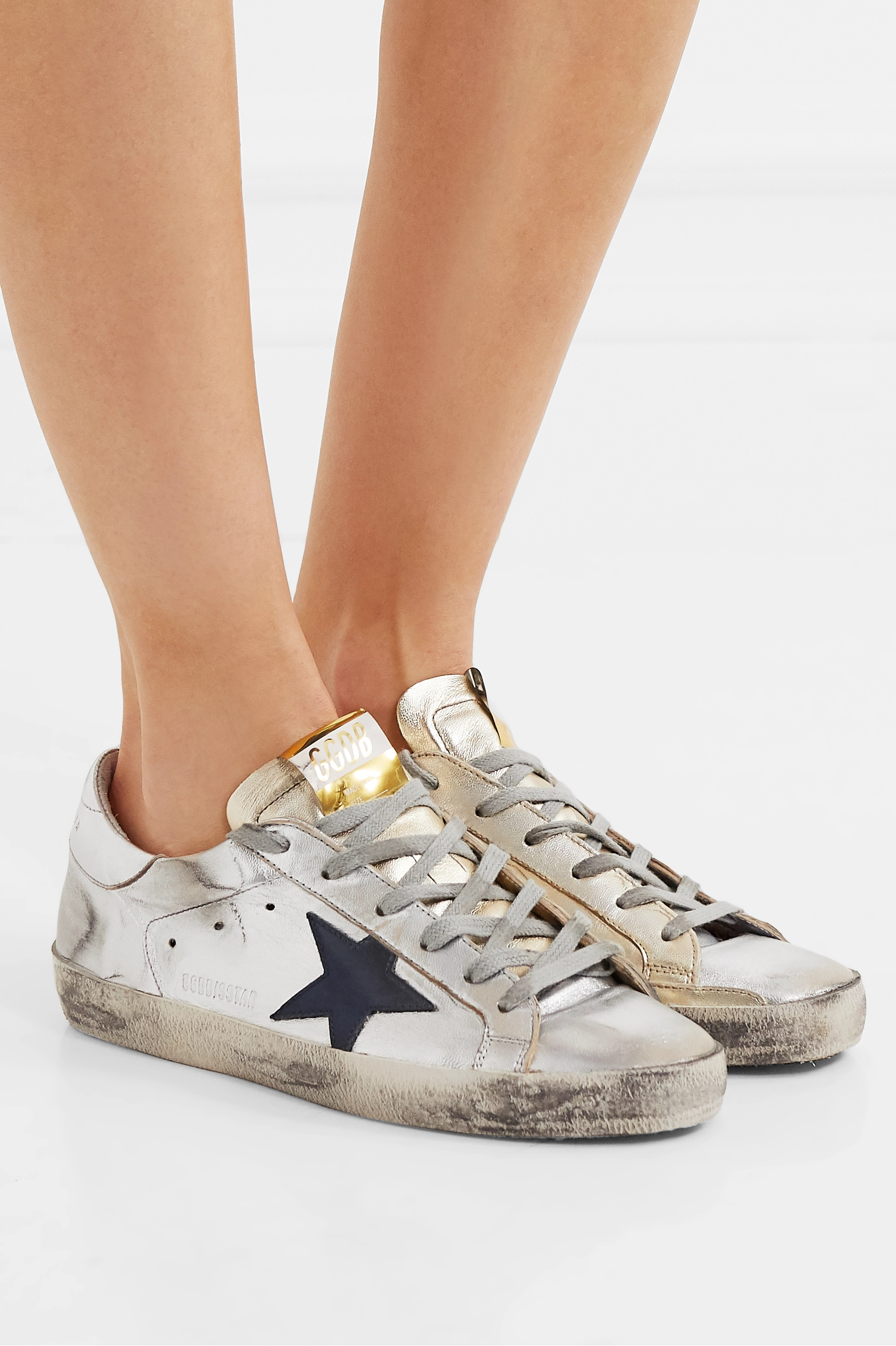 Golden Goose Superstar two-tone distressed metallic leather sneakers