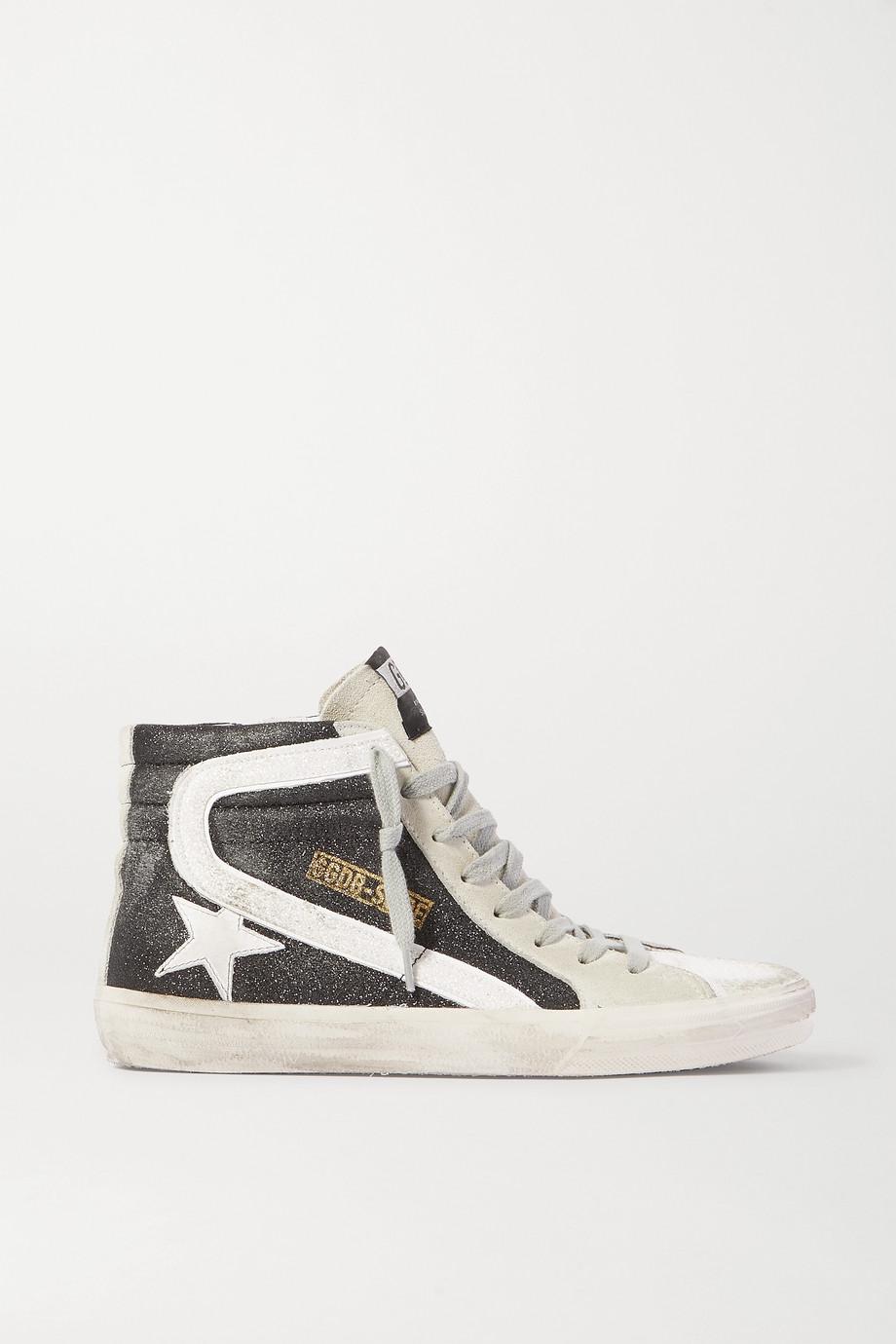 Golden Goose Slide Sneakers aus Veloursleder mit Glitter-Finish in Distressed-Optik