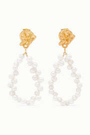 Apollo's Story gold-plated pearl earrings