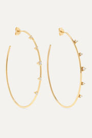 14-karat gold diamond hoop earrings