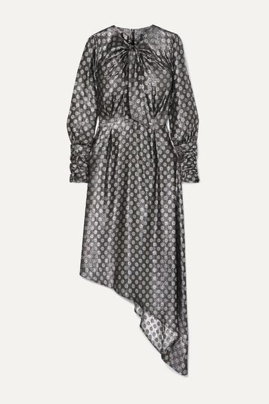 Melodi Tie Neck Asymmetric Metallic Silk Blend Jacquard Dress by Dodo Bar Or
