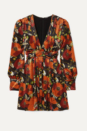 Dodo Bar Or Malenia twisted floral-print velvet mini dress