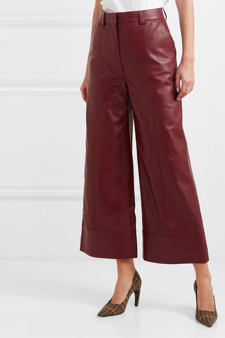 Magen leather wide-leg pants
