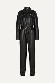 Barbara belted leather jumpsuit
