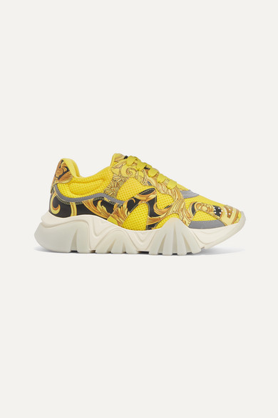 Versace Sneakers Squalo printed leather and mesh sneakers