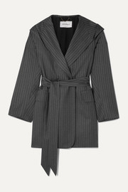 Salvatore Ferragamo Belted hooded pinstriped wool jacket