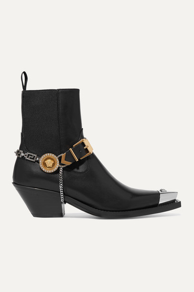 Embellished Leather Ankle Boots by Versace