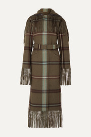Salvatore Ferragamo Belted fringed checked flannel coat