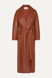 Salvatore Ferragamo Belted textured-leather wrap coat