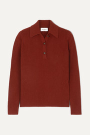 Salvatore Ferragamo Button-detailed ribbed wool and cashmere-blend sweater