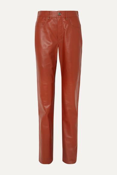 Leather Straight Leg Pants by Salvatore Ferragamo