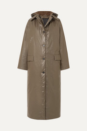 Kassl Editions Oil hooded coated cotton-blend coat