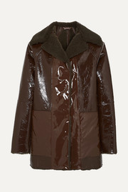 Kassl Editions Reversible lacquered textured-leather and faux shearling coat