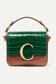 Chloé Chloé C mini croc and lizard-effect leather shoulder bag