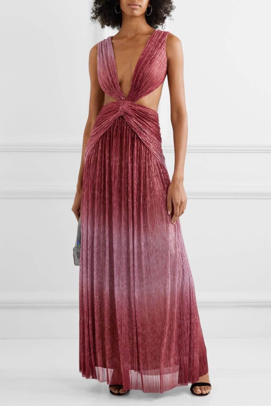 PatBO Cutout twist-front ombré Lurex maxi dress