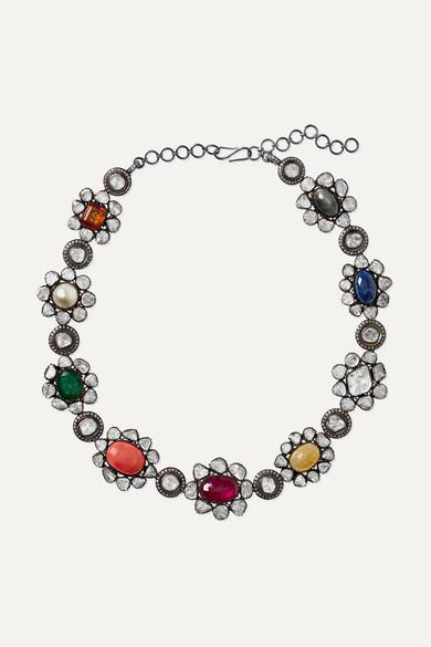 AMRAPALI | Amrapali - 14-Karat Gold Multi-Stone Necklace - White Gold | Goxip