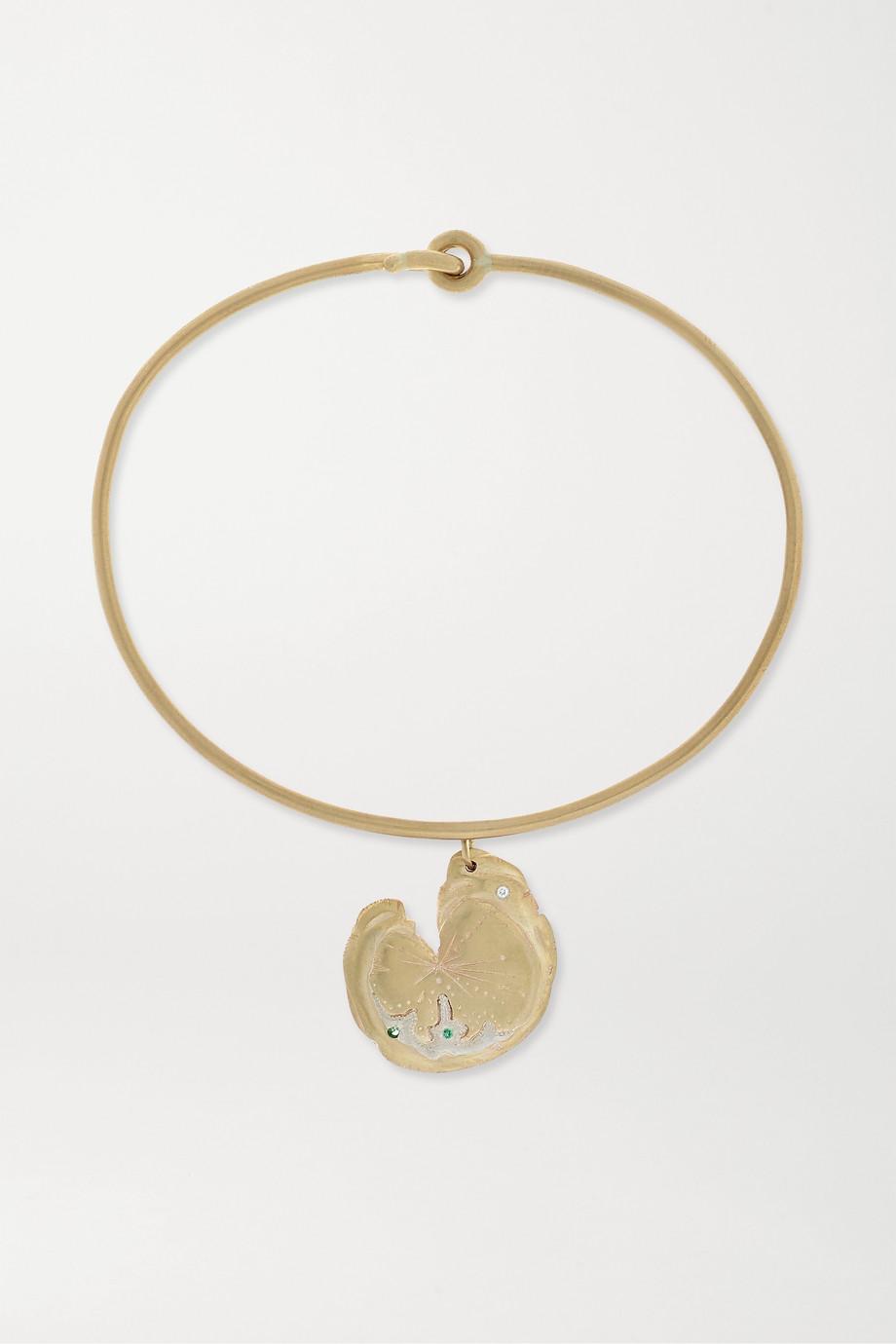 Pascale Monvoisin Calypso 9-karat gold, sterling silver, emerald and diamond bracelet