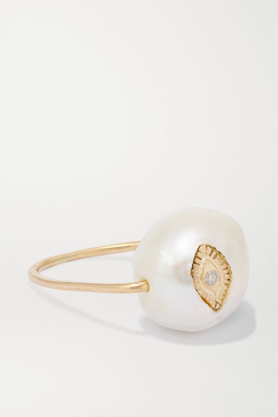 Pascale Monvoisin Charlie 9-karat gold, pearl and diamond ring
