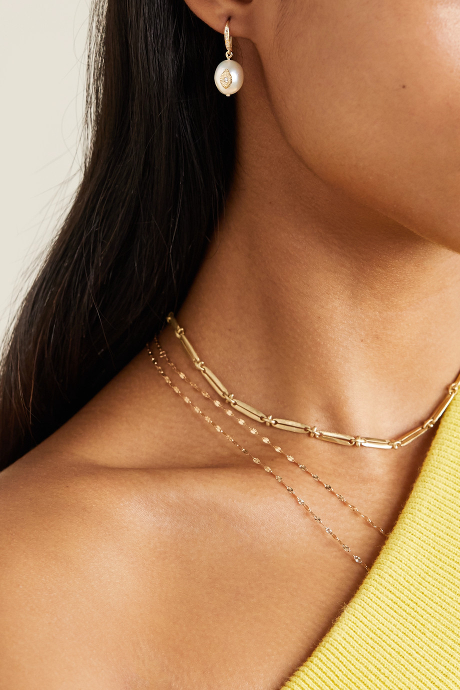 Pascale Monvoisin Charlie N°1 9-karat gold, pearl and diamond earring