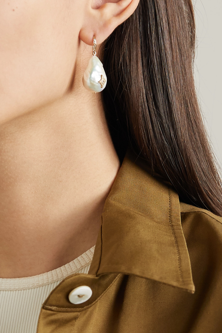 Pascale Monvoisin Charlie N°2 9-karat gold, pearl and diamond earring