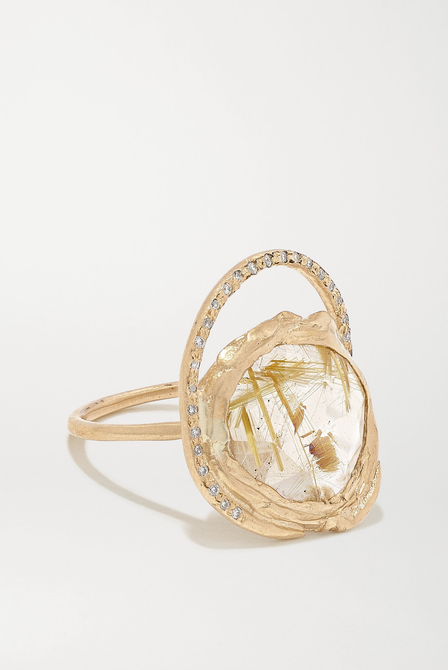 Pascale Monvoisin Gaia 9-karat gold, quartz and diamond ring