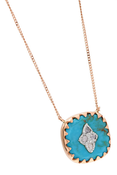 Pierrot N°2 9 Karat Rose Gold, Turquoise And Diamond Necklace by Pascale Monvoisin