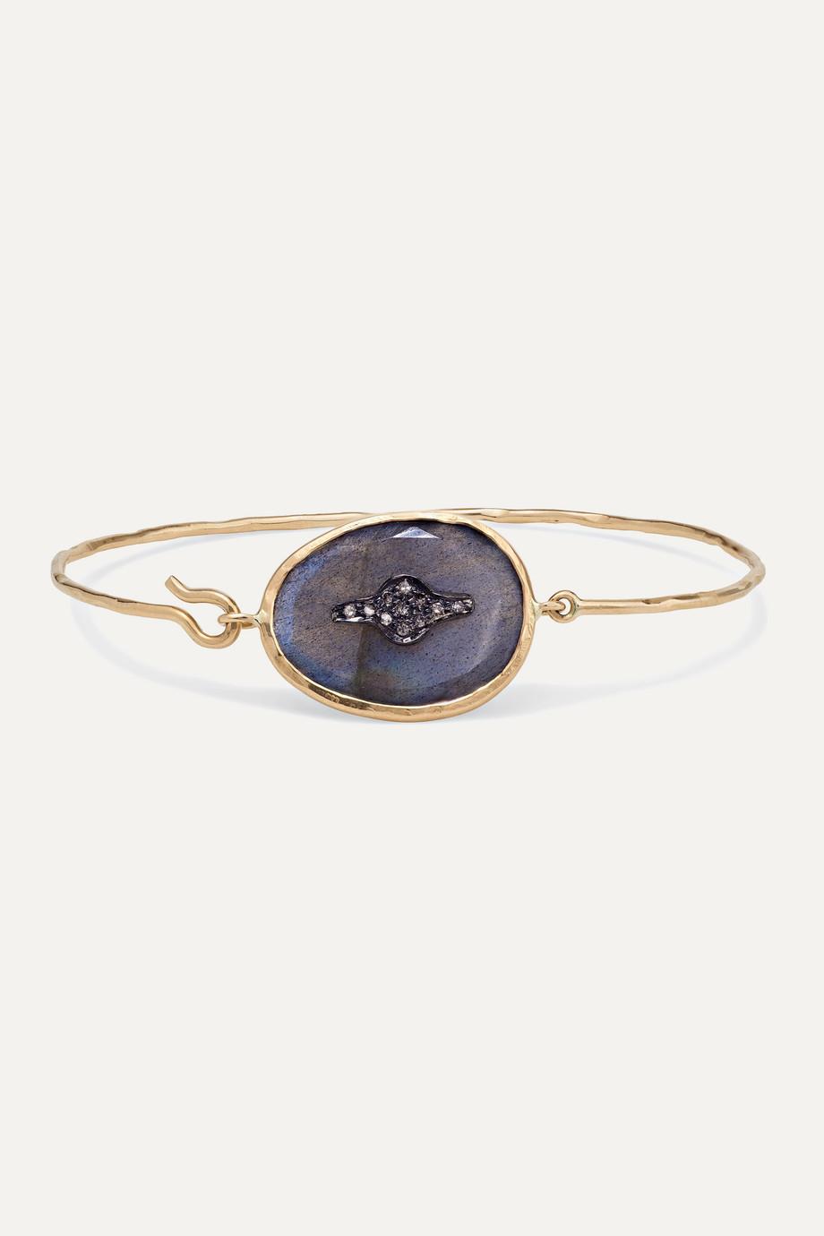 Pascale Monvoisin Bracelet en or rose 9 carats, argent sterling, labradorite et diamants Garance N°2