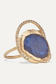 Gaia 9-karat gold, labradorite and diamond ring