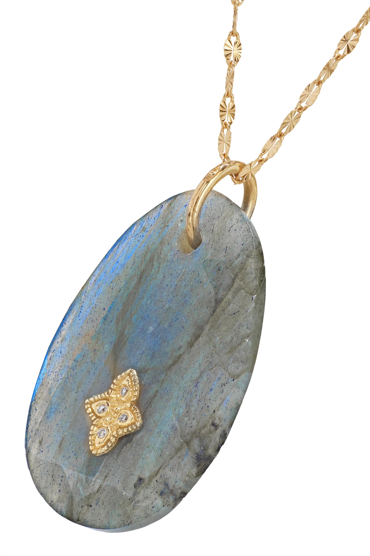Pascale Monvoisin Gaia N°2 14-karat and 9-karat gold, labradorite and diamond necklace
