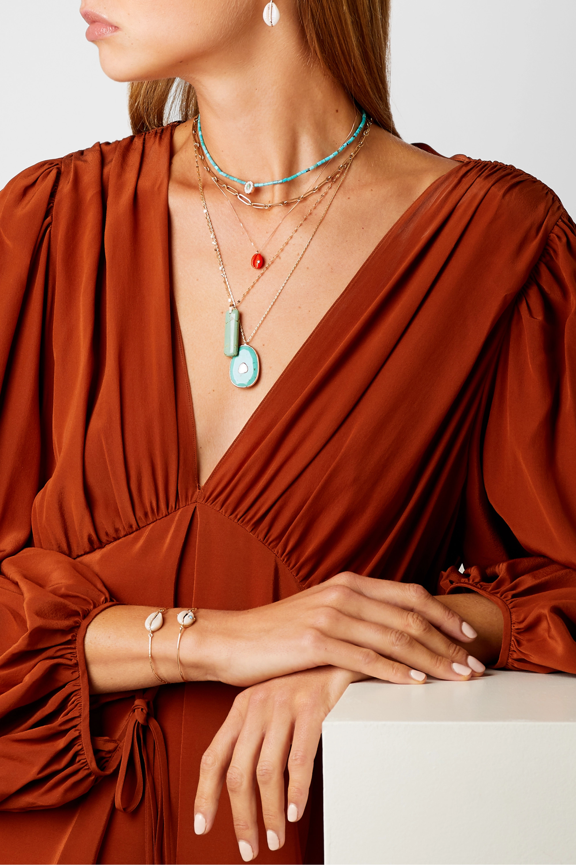 Pascale Monvoisin Cauri N°2 9-karat rose and yellow gold, resin and turquoise necklace