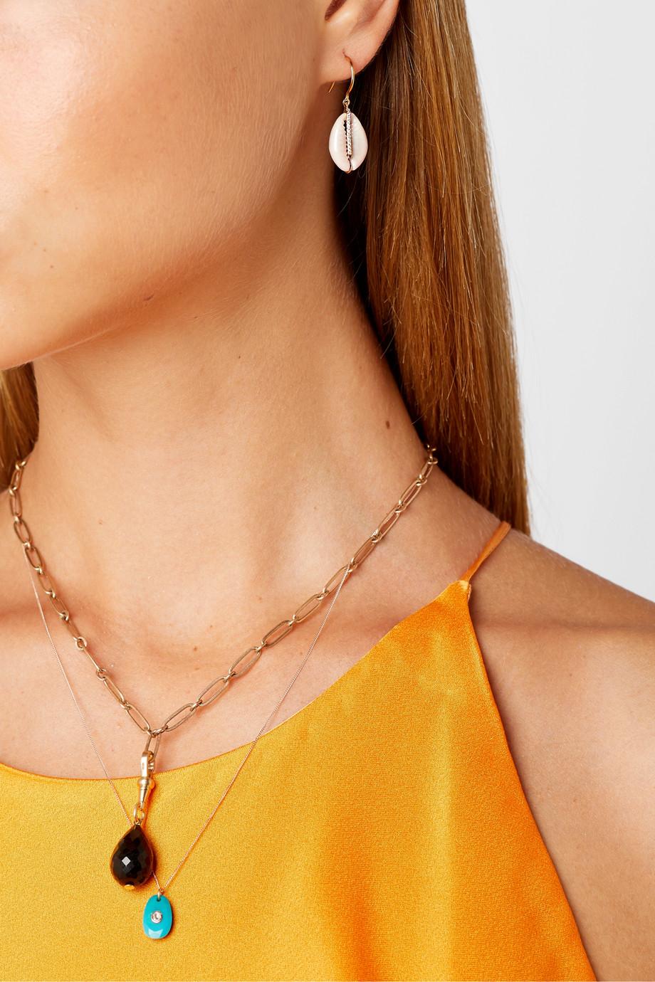 Pascale Monvoisin Cauri 9-karat gold, porcelain and diamond earring