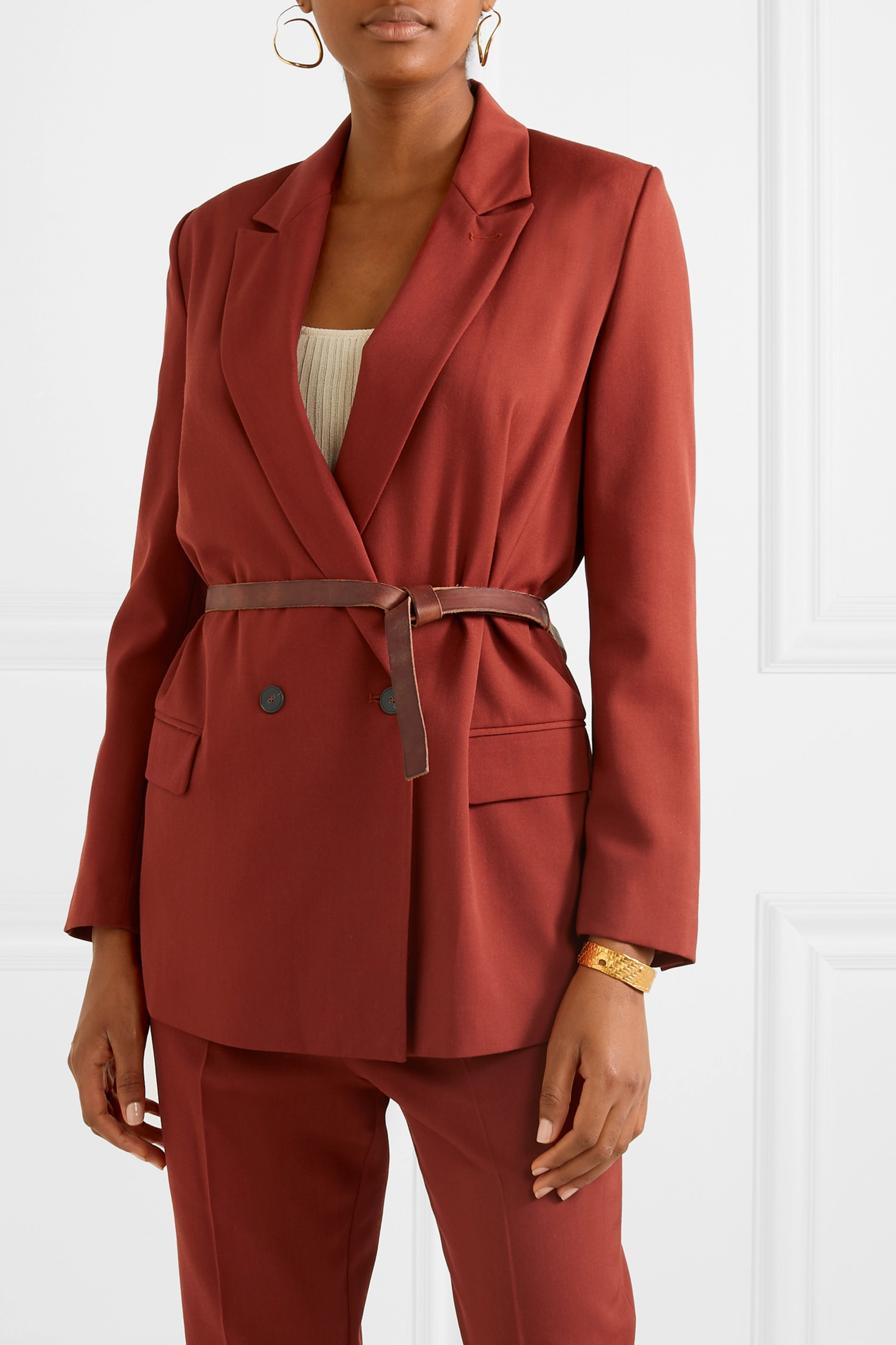 forte_forte Belted double-breasted twill blazer