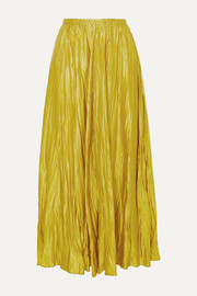 Crinkled washed silk-satin maxi skirt