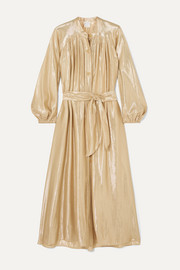 Belted gathered silk-blend Lurex midi dress