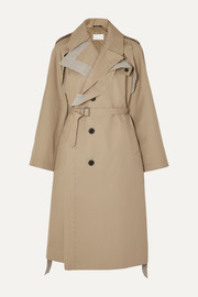 Maison Margiela Belted cotton canvas-trimmed gabardine trench coat